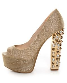 Glitz, gold and spikes! Yes! Zigi Girl Jayla Gold Mesh Studded Platform Heels