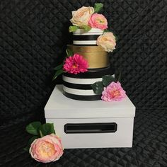 Kate Spade Inspired Striped Card box With Flowers