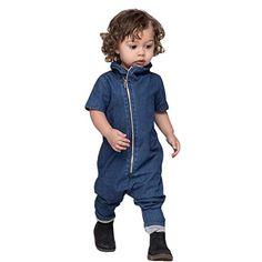 Bekleidung Longra Säugling Baby Jungen Kleidung Denim Romper Strampler Jumpsuits Kurzarm Reißverschluss Overall Outfits(0 -24 Monate) (70cm 9Monate, blue)