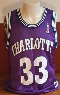 e0c6622ea Vtg NBA Large (44) Champion Jersey Purple Charlotte Hornets Alonzo Mourning   33  Champion  CharlotteBobcats