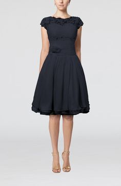 Navy Blue Cinderella Scalloped Edge Short Sleeve Chiffon Knee Length Lace Bridesmaid Dresses - iFitDress.com