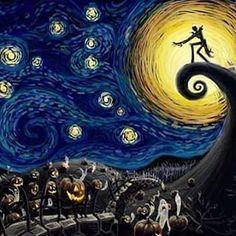 #thenightmarebeforechristmas #jackscheletron # van gogh#beautiful #moonlight #halloween #cristmas