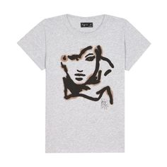 agnès b. T-shirt Loulou Picasso ($75) ❤ liked on Polyvore featuring tops, t-shirts, grey, tee shirt, slim fit tees, gray t shirt, holiday graphic tees, short sleeve tee and grey t shirt