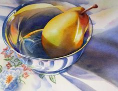 Barbara Fox - Daily Paintings: SHINY PEAR watercolor still life painting
