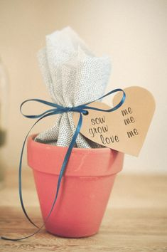 "These diy wedding favors are great flower bulb guest favor too cute! change tag to ""plant me, grow me, watch me bloom"" Inexpensive Wedding Favors, Cheap Favors, Wedding Favors For Guests, Personalized Wedding Favors, Unique Wedding Favors, Wedding Gifts, Our Wedding, Trendy Wedding, Nautical Wedding"