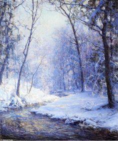 Première neige, huile sur toile de Walter Launt Palmer (1854-1932, United States)
