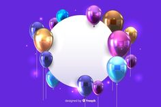 Glossy balloons with blank banner effect blue background freepik vector Happy Birthday Wishes Cards, Happy Birthday Flower, Happy Birthday Banners, Balloon Background, Birthday Background, Background Banner, Vector Background, Blank Banner, Free Banner