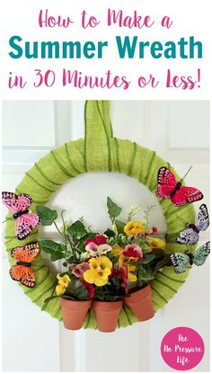 This summer wreath is so pretty! Use it as a spring wreath and it'll transition well to summer. Easy to follow DIY summer wreath tutorial. via @nopressurelife