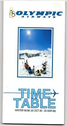View Item: Airline Timetable Olympic Airways October 1995