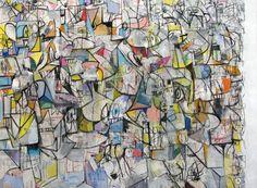 <b>George Condo</b> <i>Compression VI</i>, 2011 Acrylic, charcoal, pastel on linen 81 x 110 inches (205.7 x 279.4 cm.)