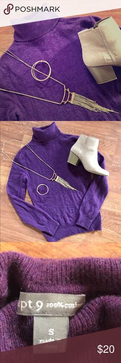 💯% Cashmere Sweater Love cashmere but not the high price? This deal is for you! This size S women's Apt 9 beautiful purple cashmere turtleneck sweater is in perfect condition and ready to add to your closet. As always, my items come from my smoke-free home. Bundle and save!!! Apt. 9 Sweaters Cowl & Turtlenecks