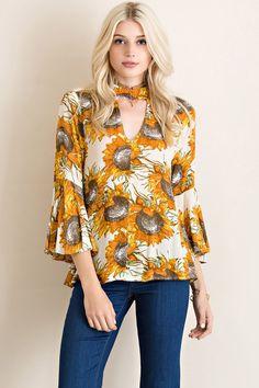 Sunflower Bell Sleeve Top -
