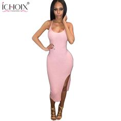 2015 Novelty Party Dresses Summer Women Clothing Sexy Clubwear Black Pink  Backless Side Split Bodycon Bandage 002423980432