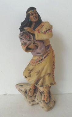 Sacajawea and Infant Ceramic Statue Figurine