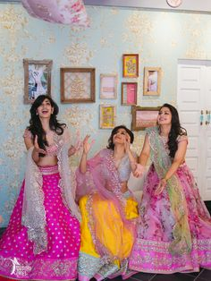bridesmaids , elegant sister of the bride outfits , pink floral lehengas, girly…