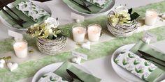 Tischdekoration zur Kommunion/Konfirmation in Hellgrün / Weiß