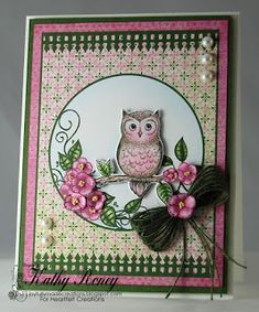 Perched Pink Owl by Kathy Roney for Heartfelt Creations using the Sugar Hollow Collection