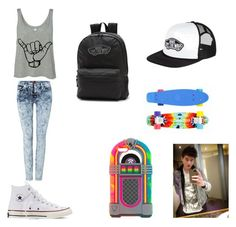"""""""FIRST DATE WITH CALUM HOOD"""" by candygirl156 ❤ liked on Polyvore featuring 7 For All Mankind, Converse and Vans"""