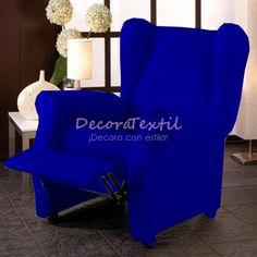Funda Sillón Relax Azul Eléctrico TUNEZ, compuestas por 4 piezas, medidas estándar de 70 a 110 cm, tejido elástico, fundasadaptables a cualquier sillón relax.