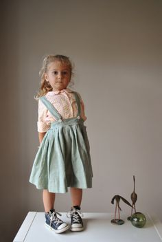 1950s Moss Suspender Skirt size 3t/4t by salvagehouse on Etsy