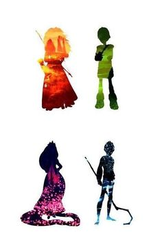 The Big Four, Merida next to her Hiccup and Jack Frost beside Rapunzel