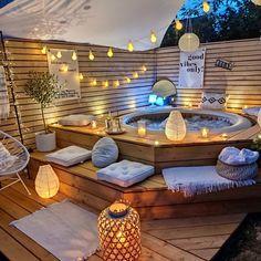 Jacuzzi Outdoor, Outdoor Lounge, Outdoor Living, Outdoor Party Lighting, Outdoor Decor, Mini Piscina, Hot Tub Surround, Jacuzzi Room, Rooftop Design