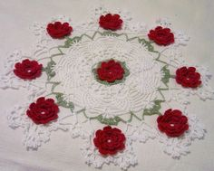 red flowers pineapple white lace holiday crocheted by Aeshagirl
