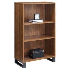 "48"" 3 Shelf Tavia Bookshelf Light Walnut - Whalen : Target 3 Shelf Bookcase, Metal Bookcase, Bookcase Styling, Modern Bookcase, Bookshelves, Vertical Bookshelf, Bookshelf Lighting, Cube Organizer, College Dorm Rooms"