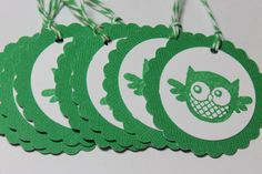 8 cute green and white owl tags by ThePaperOwl13 on Etsy, $5.00
