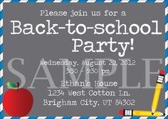 Back to School Custom Party Invitation. $3.00, via Etsy.