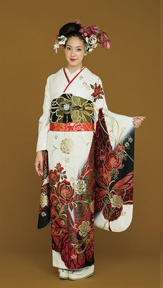 Contemporary furisode # 4. Japan - Cult of the Crescent elders wear unbound kimonos