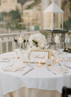 Gold and White Reception Table Setting - perhaps destination wedding in Positano…