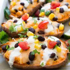 Loaded Mexican Sweet Potato Skins Recipe - RecipeChart.com