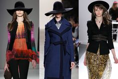 Fall 2012 Trend: Wide-brim hats  Give yourself mysterious airs this autumn—and keep your head warm while you're at it! Next season's headwear of choice will be 1970s-inspired wide-brim wool felt hats, in different colors and shapes.  L-R: Nicole Miller, Billy Reid, Carlos Miele  Fall 2012's Most Wearable Fashion Trends: Glamour.com