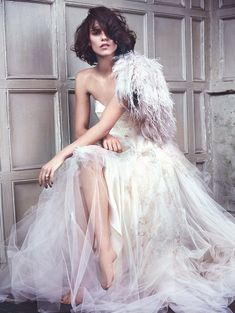 """{ """"The Dress Rehearsal"""" Corinna Ingenleuf by Olaf Wipperfurth for ELLE UK Wedding S/S 2015 } x-d"""