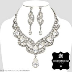 OW Rhinestone Silver & Clear Bridal Bib Necklace and Earrings Set Tear Drop by DESIGNERSHINDIGS on Etsy