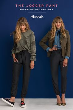 The jogger pant — a fall staple you can dress up or down! For a casual athleisure look, do the half tuck with a camo long-sleeve sweater and slip into embroidered sneaks. For the office, pair a high-neck chambray shirt with a structured blazer and block heels! Find everything to build these looks for a whole lot less at Marshalls.