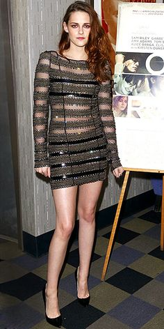Celebrity Style: A Week Of Fabulous Cocktail And Mini Dresses. Actress Kristen Stewart in a daring sheer and metallic Catherine Malandrino mini dress.