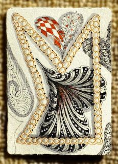 #Zentangle Day 10 ~ On the tenth day of #Christmas, My true love got from me, 10 tangled heart-strings by Maria Thomas, Zentangle Co-Founder