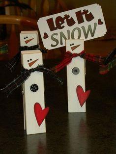 Snowman Clothepins