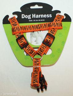 "DOG 5/8"" FABRIC NYLON HARNESS ORANGE ANIMAL PRINT STRIPES SMALL MEDIUM 14""-20"" #Unbranded"