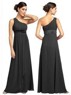 A-line/Stile Principessa Monospalla Floor-length Senza Maniche Plissè Chiffon Raso Dress