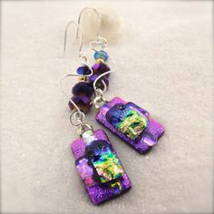 Dichroic earrings fused glass earrings hana by HanaSakuraDesigns