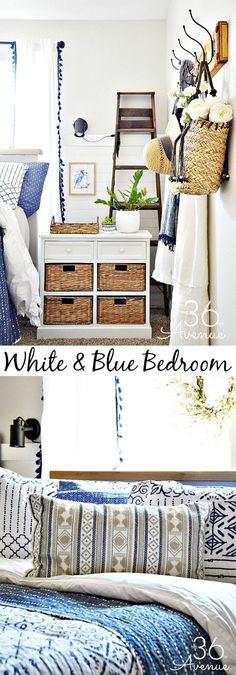 Bedroom Decor Ideas – White and blue Bedroom Decor. Cheap Home Decor, Diy Home Decor, Coastal Decor, Neutral Bedroom Decor, Feminine Bedroom, Bedroom Ideas, Pretty Bedroom, Small Room Bedroom, Master Bedroom