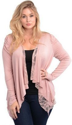 Pink Scarf Lace Drape Front Long Sleeve Asymmetrical Cardigan/Cover-Up Plus