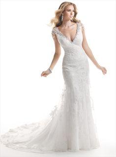 encantador Justo Alças Em V Contas&Crystal Renda Cauda Escova Tule Vestidos de Noiva