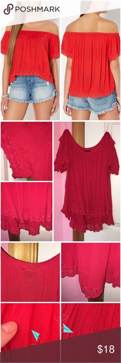 """Crochet Trim Off Shoulder Top Never worn; just washed. Tiny imperfection as seen in the 3rd set of photos. Breezy gauze fabric. Crochet trim along the arm openings and hemline. 100% rayon. Laying flat as it would be worn off the shoulder the front of length is approx 16"""" and approx 19"""" in the back. Bust is approx 37"""" laying flat. Please refer to stock photos from Rue 21 and measurements for look and fit. ❌❌NO TRADES❌❌ Rue 21 Tops"""