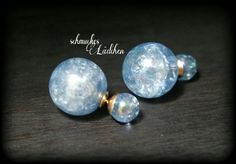 Blaue Perlen DoppelPerlen Ohrstecker von byschmuckesLaedchen