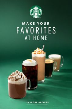 From refreshing iced lattes to invigorating espressos and mouth-watering macchiatos, this is the best way to bring your favorite Starbucks drinks to life right in your very own kitchen. Starbucks Recipes, Starbucks Drinks, Starbucks Coffee, Coffee Recipes, Coffee Menu, Coffee Drinks, Snack Recipes, Cooking Recipes, Snacks