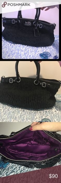 """Coach Gathered Satin Satchel Like new! No damages, stains, or wearing. No Crossbody strap, just leather handles. Measurements are approximate: 14""""w by 9""""h by 5""""bottom. Coach Bags Satchels"""